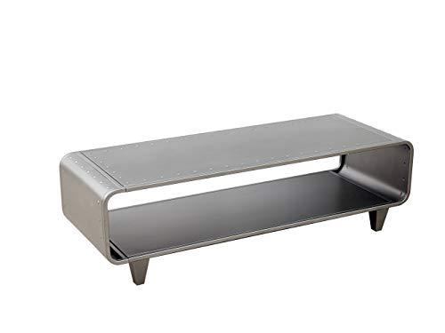 dipamkar meuble tv en metal unite multimedia table basse table multifonctions style industriel simpliste boitier en metal brosse gris acier