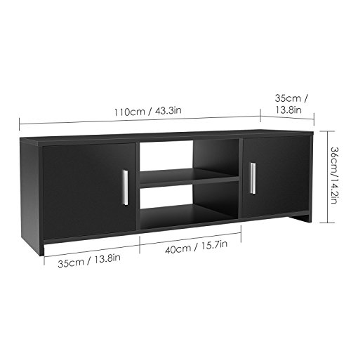 homfa meuble tv moderne en bois meuble television meuble tv bas avec 2 portes et etageres 110 35 36cm
