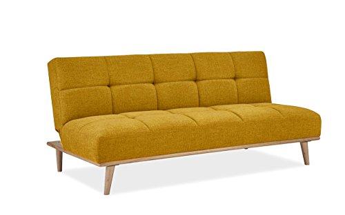 mobilier deco banquette clic clac scandinave convertible tissu jaune