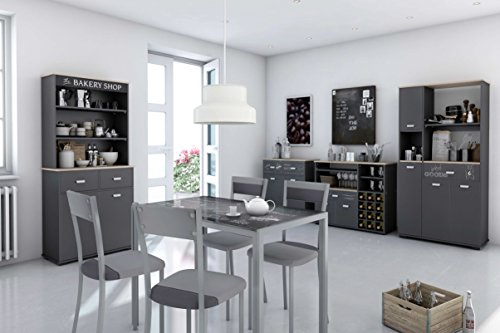 buffet bas de cuisine 2 portes 2 tiroirs gris grafito et 90 cm