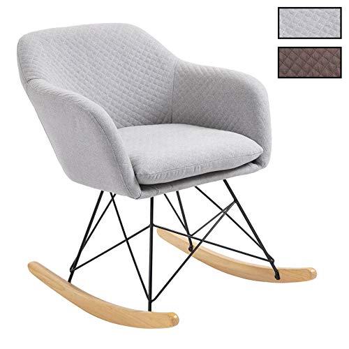 idimex fauteuil a bascule adelano rocking chair relax avec coussin et accoudoirs design scandinave pieds en metal noir et bois chaise en tissu