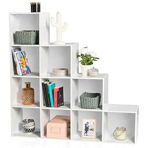 idmarket meuble escalier 4 niveaux bois blanc fond blanc