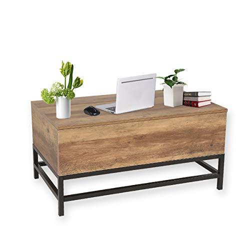 maimaiti table basse relevable lara support a ressort en metal materiel panneau de particules b48 t80 h40 54cm bois