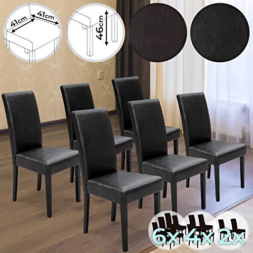 miadomodo chaises de salle a manger en simili cuir et bois couleur noir marron et set 2 4 6 au choix avec dossier haut meuble de salon