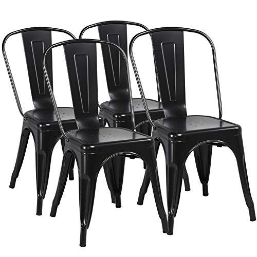 yaheetech lot de 4 chaise de salle a manger industrielle chaise de cuisine 45 cm h empilable tabouret avec dossier jardin bistrot cafe salon