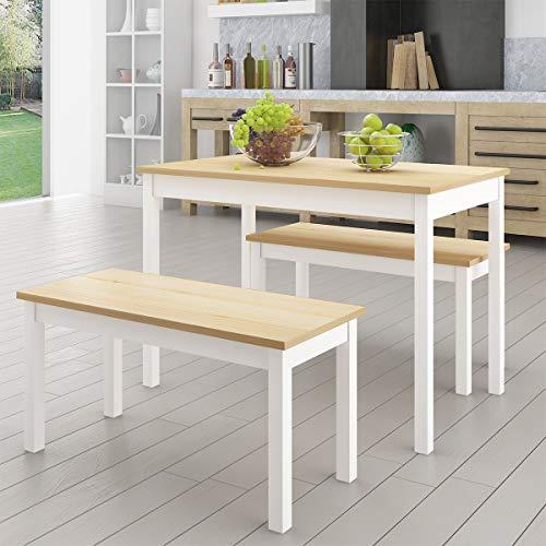 anaelle panana ensemble table 2 bancs en bois pour salle a manger cuisine sejour cafe poids 23kg