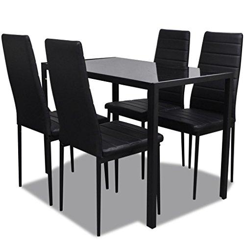 vidaxl ensemble table et chaises pour salle a manger 5 pcs noir noir et blanc