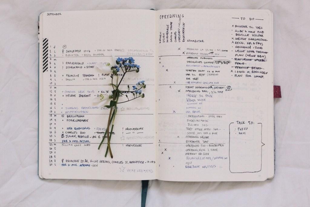 Bullet Journal metoden - månedsoversigt monthly