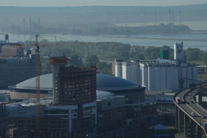 General Mills (right) and renewable windmill power takes over old Bethlehem Steel site.  Photo:  Gregory Pijanowski 2014.