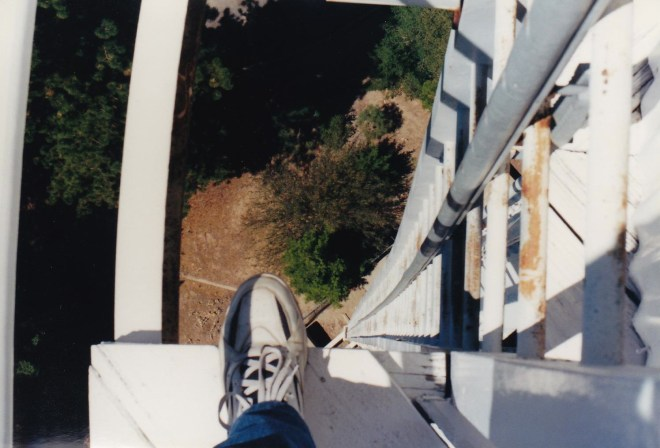 Looking down the ladder on the 150-foot Solar Tower. Credit: Gregory Pijanowski
