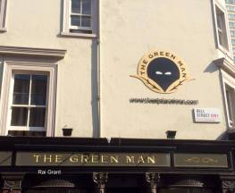 Possibly the eeriest green man pub sign in London