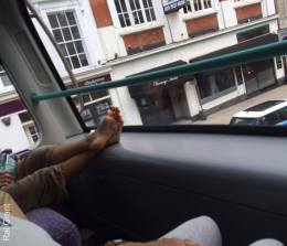 Don't care how nice a day it is, this is just wrong, no body wants to smell your sweaty feet love.
