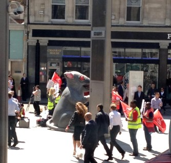Why was there a giant rat outside the RBS offices?