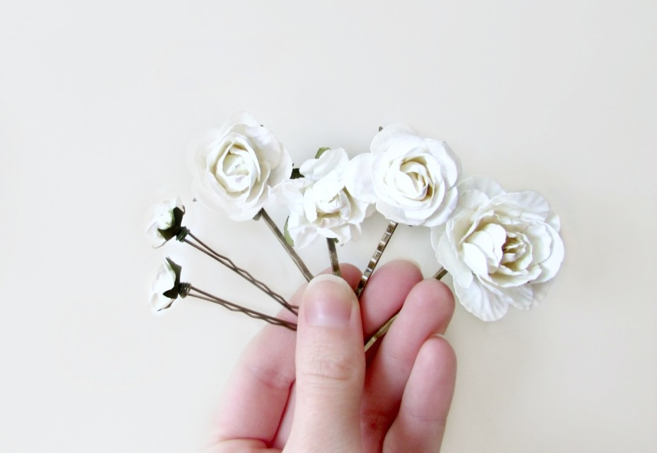 White Paper Flower Hair Accessories