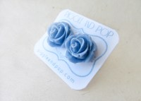 Dusty Blue Rose Flower Stud Earrings.