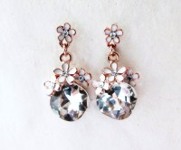Enamel and Rhinestone Rose Gold Dangle Earrings