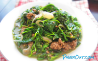 Spinach Stir-fry with Ground Beef