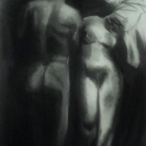 Adam und Eva in schwarz/weiß