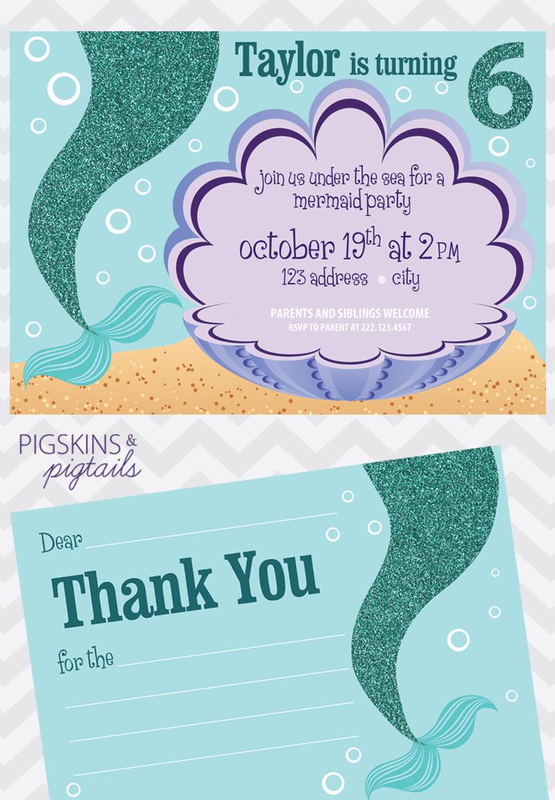 Mermaid Birthday Party Pigskins & Pigtails