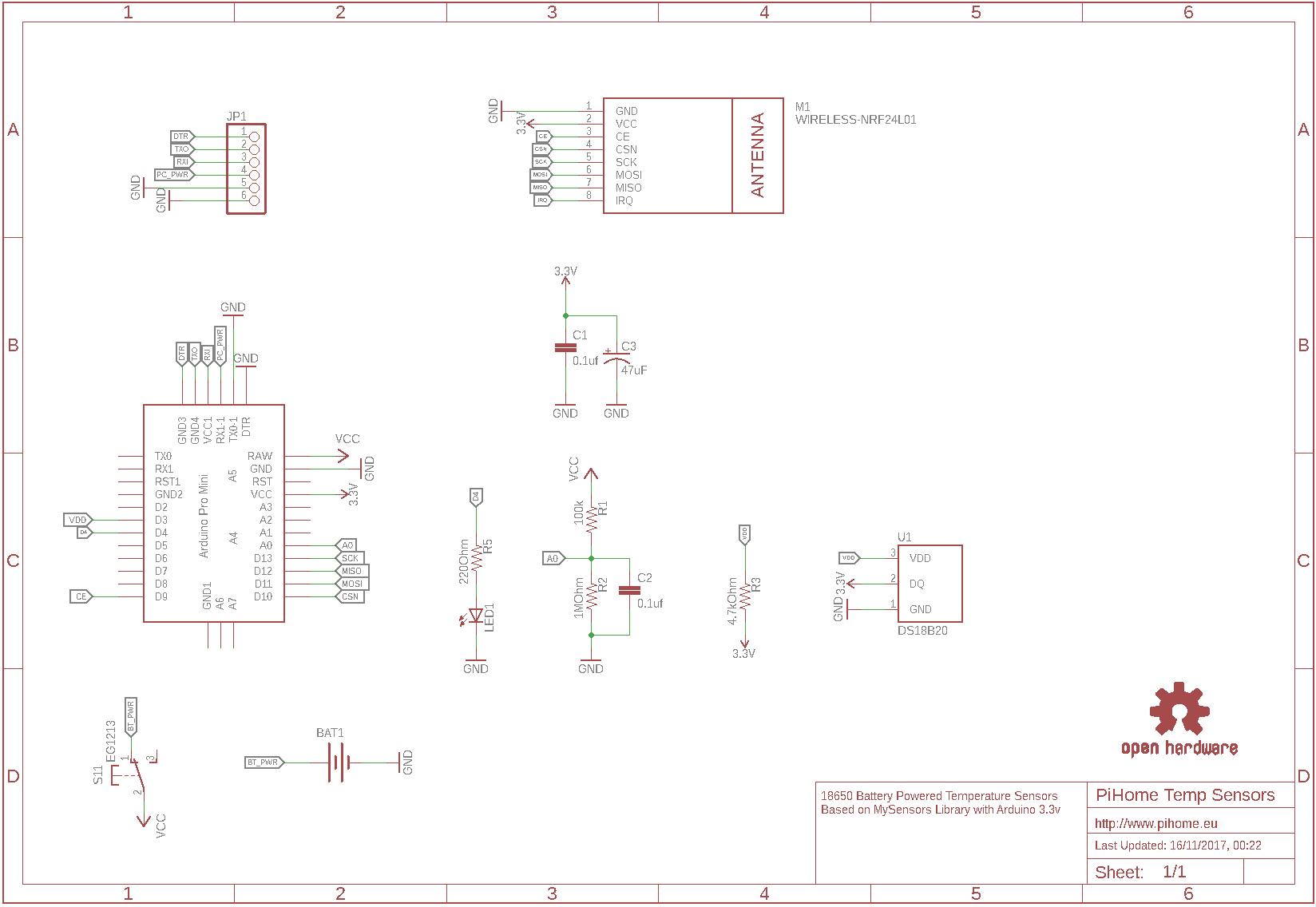 Battery Powered Arduino Ds18b20 Temperature Sensor