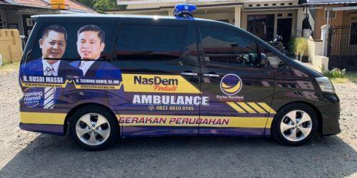 Satu unit Mobil ambulans Jenis Toyota Alphard yang disiapkan Kader NasDem Parepare Tasming Hamid. Tasming Hamid kini menjabat sebagai Wakil Ketua DPRD Parepare. --int--