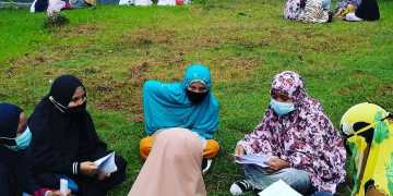 Suasana outing class yang tetap menerapkan protokol kesehatan di Pondok Pesantren Muhammadiyah Hizbul Wathan