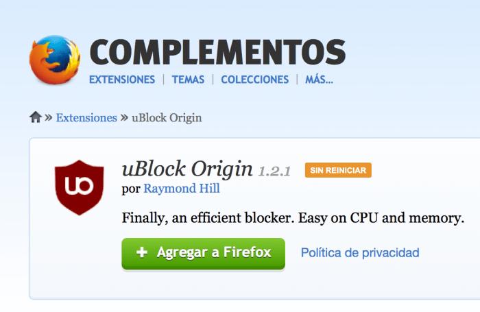 Agregar uBlock Origin a Firefox
