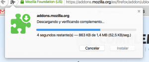 uBlock Origin, descargando