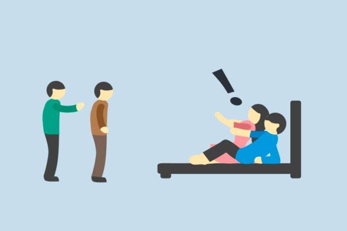 Ilustrasi pasangan selingkuh dan mesum.