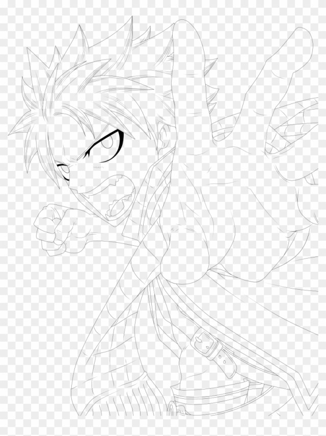 Cute Anime Girl Coloring Pages - Natsu Dragneel Lineart Clipart