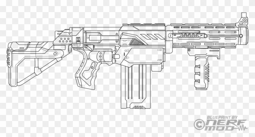 Drawn Rifle Nerf Gun Nerf Rival Gun Coloring Pages Clipart 1993317 Pikpng