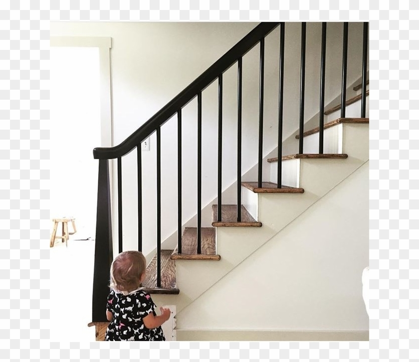 Our Finished Ish House Black Banister Wood Stair Railings   Black Wood Stair Railing   Hardwood   Curved Wood   Ash Gray   Oak   Cantilever Stair