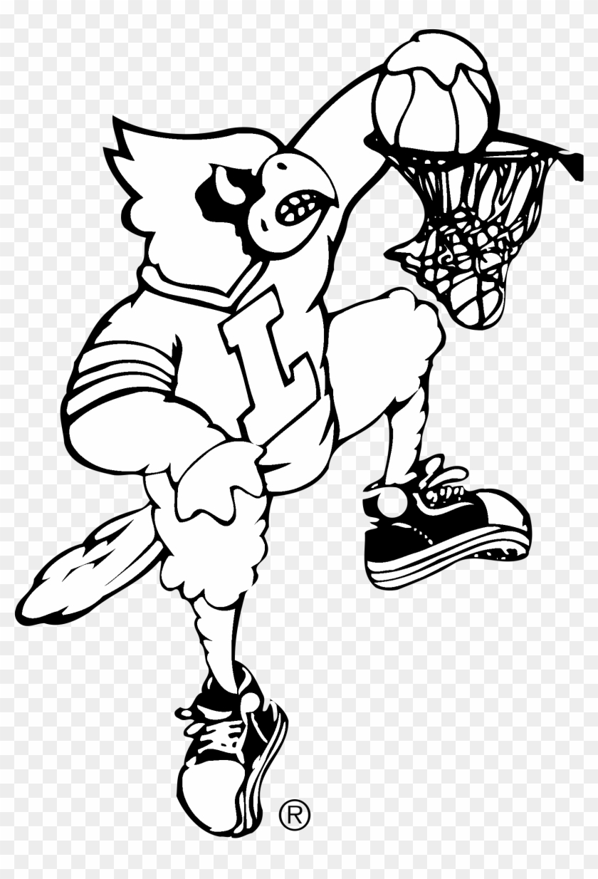 Louisville Cardinals Logo Black And White Png Download Louisville Basketball Dunking Cardinal Clipart 64744 Pikpng