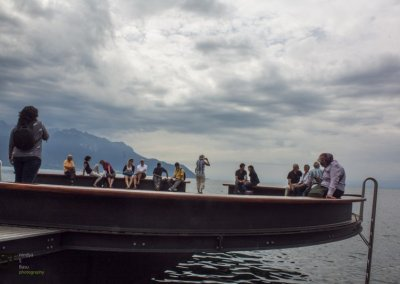 Lake Geneve Montreux with tourists