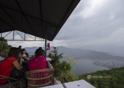 Cafe at the base of World Peace Pagoda Pokhara