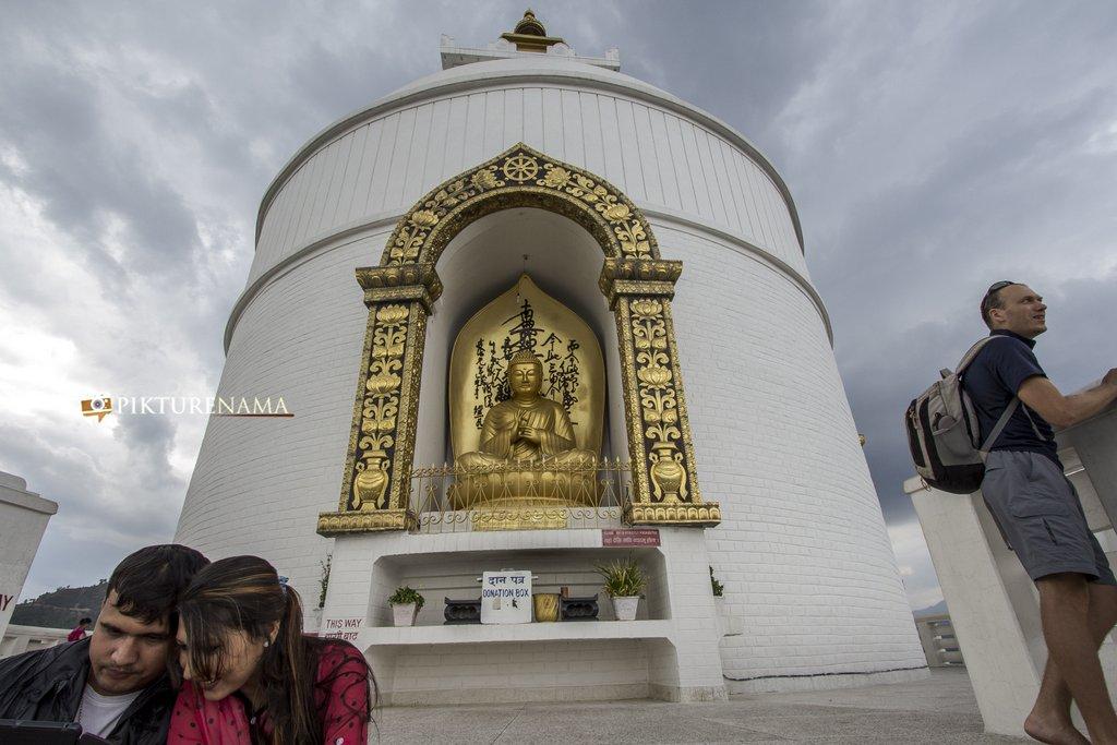 World Peace Pagoda Pokhara close up