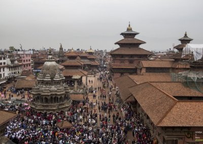 Durbar Square from 4th floor terrace during Rato Machhendranath festival in Kathmandu Nepal . Pictures by pikturenama