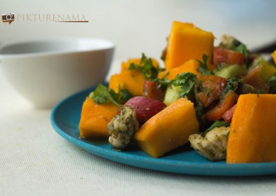 Mango Chicken salad with zesty coriander and chili dressing ready to serve