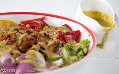 Chicken salad with leftover kebabs. Looking back at Poila Boishakh