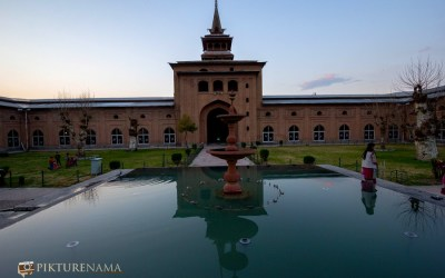 Jamia Masjid or Jama Masjid Srinagar Kashmir in the evening