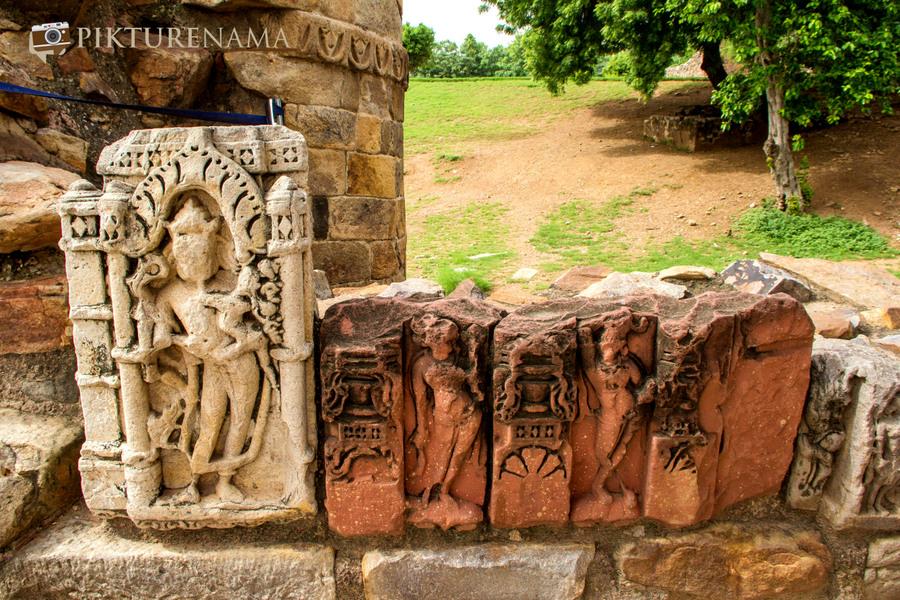 Qutub Minar and Qutub complex stones of temples
