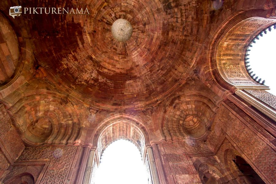 Qutub Minar and Qutub complex ceiling of Alai Darwaza