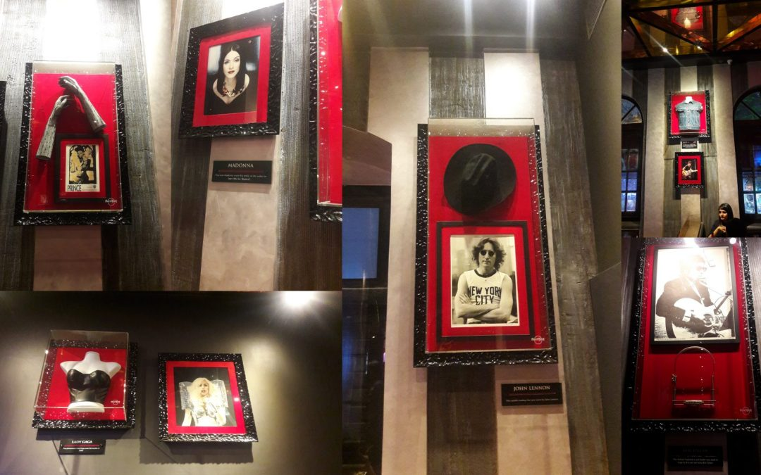 Hard rock cafe Kolkata memorabilia on walls