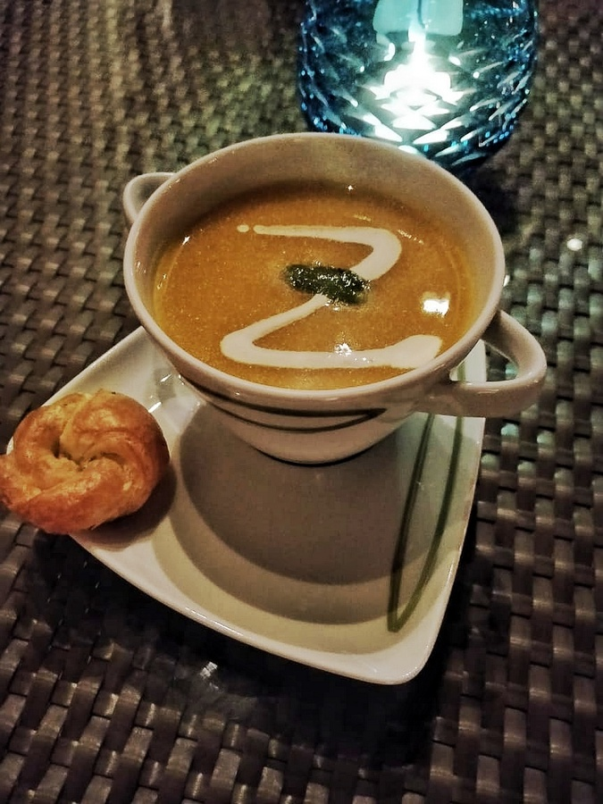 Grill by the poolside at Taj Bengal the soup