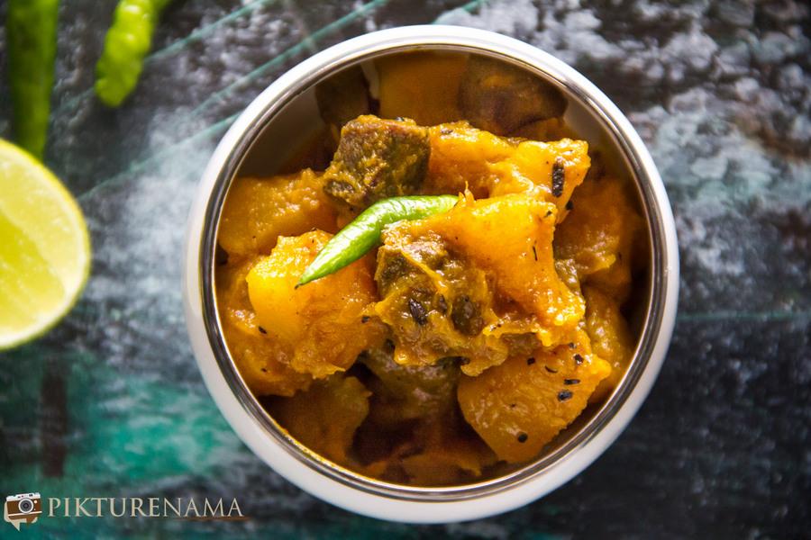 Kumro Meter chorchori / Pumpkin and mutton liver stir fried