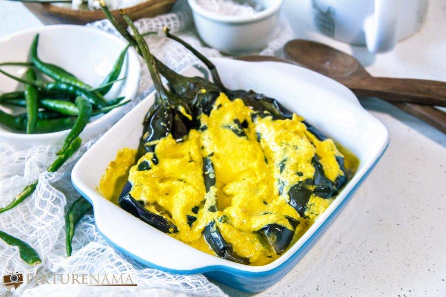 Begun Basanti- Eggplants cooked the Bengali way in a mustard and yogurt sauce