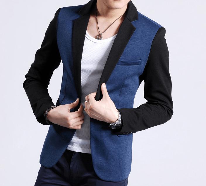 High End Stylish 2tone BlueBlack Blazer Jacket  PILAEO