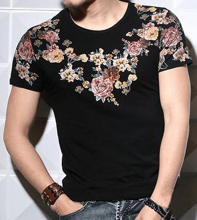 Luxury Black Floral Print Tshirt  PILAEO