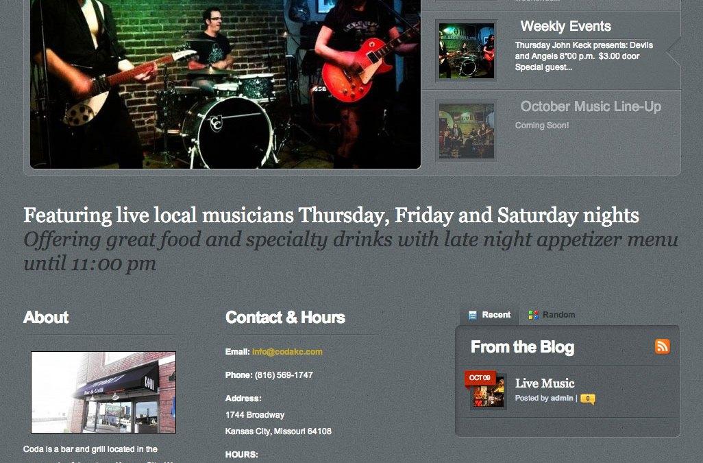 New Website for CODA Bar & Grill in Kansas City, MO!