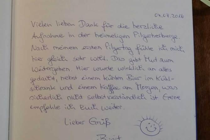 Gäastebuch Pilgerherberge St. Gallen